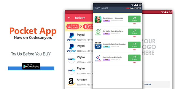 Android Rewards App - POCKET - CodeCanyon Item for Sale