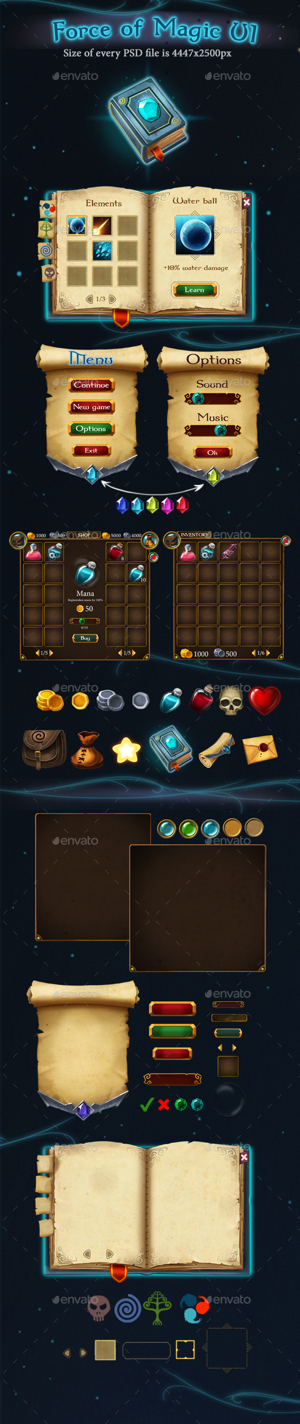 Force of Magic UI - User Interfaces Game Assets