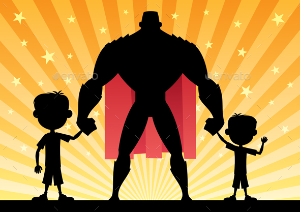 Super Dad with Two Sons - People Characters