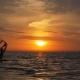 Aquatics, Windsurfing in Sea at Sunset