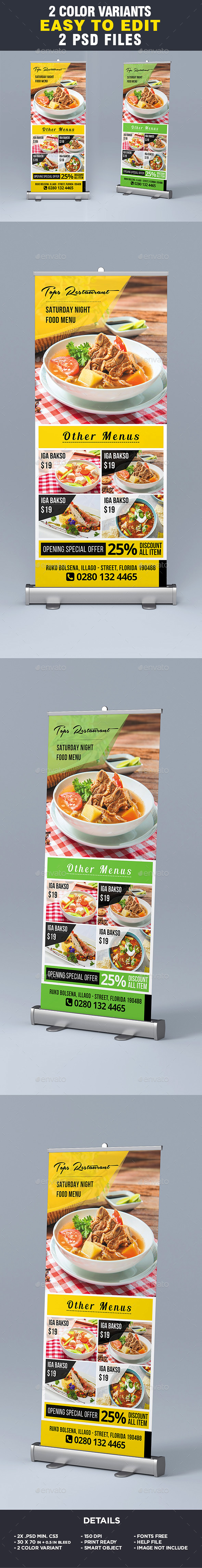 Restaurant Menu - Food Menu Roll-Up Banner