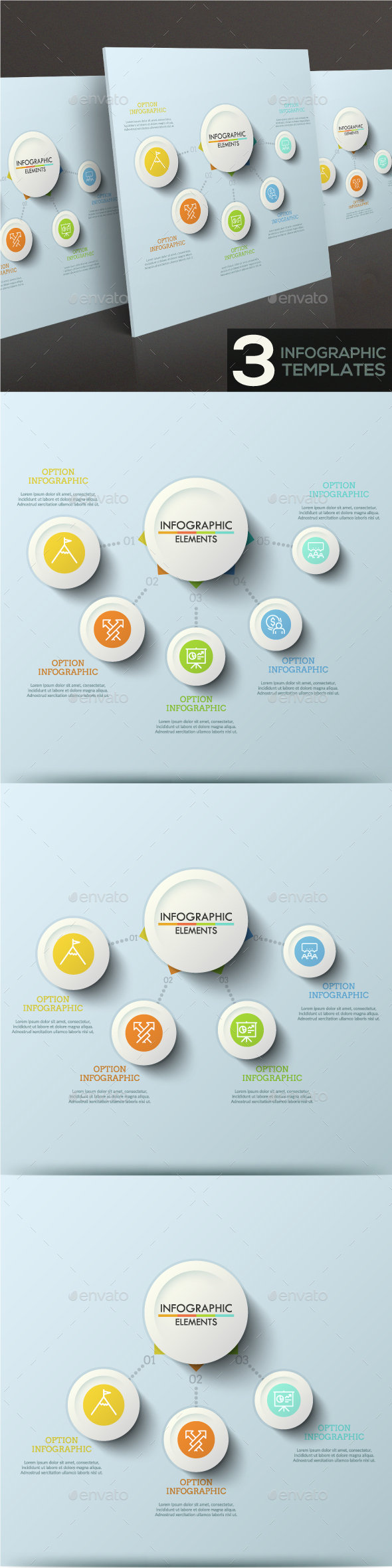 Modern Infographic Connection Template (3 Items) - Infographics