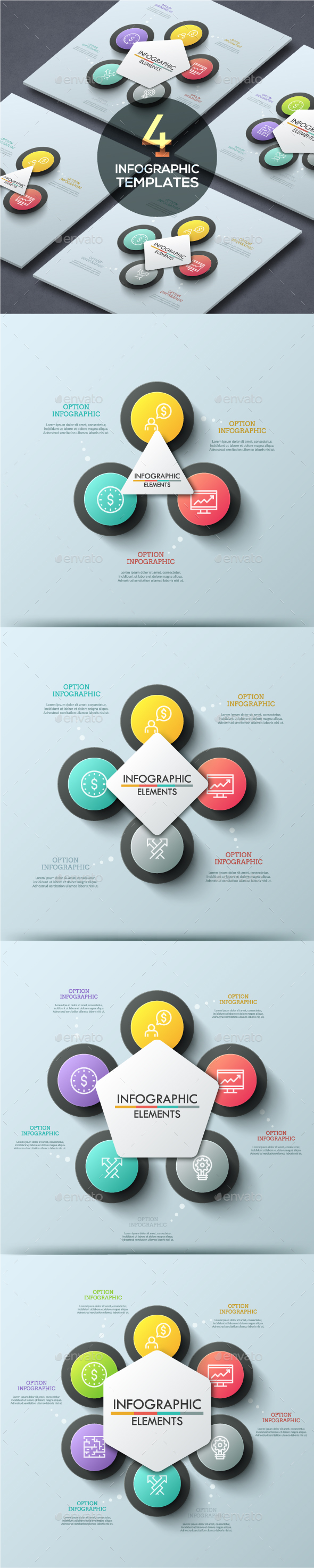 Abstract Infographic Cycle Template (4 Items) - Infographics