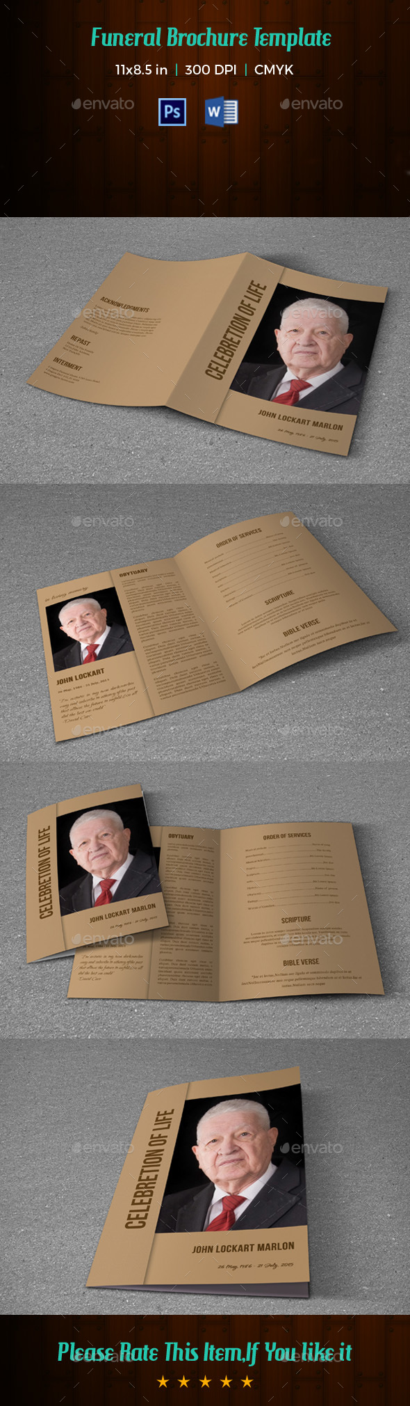 Funeral Program Template V180 - Informational Brochures