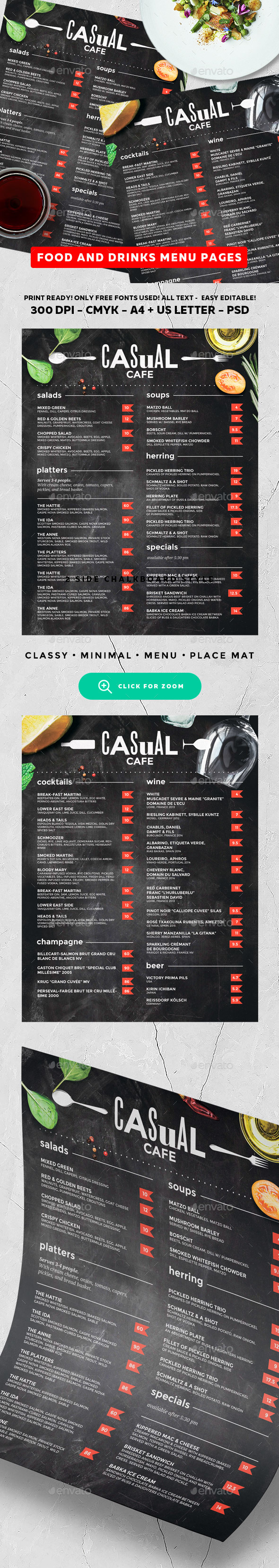 Chalkboard Menu - Food Menus Print Templates