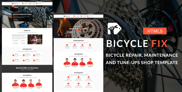 Bicycle Fix - Bicycle Repair, Maintenance and Tune-Ups Shop HTML5 Template