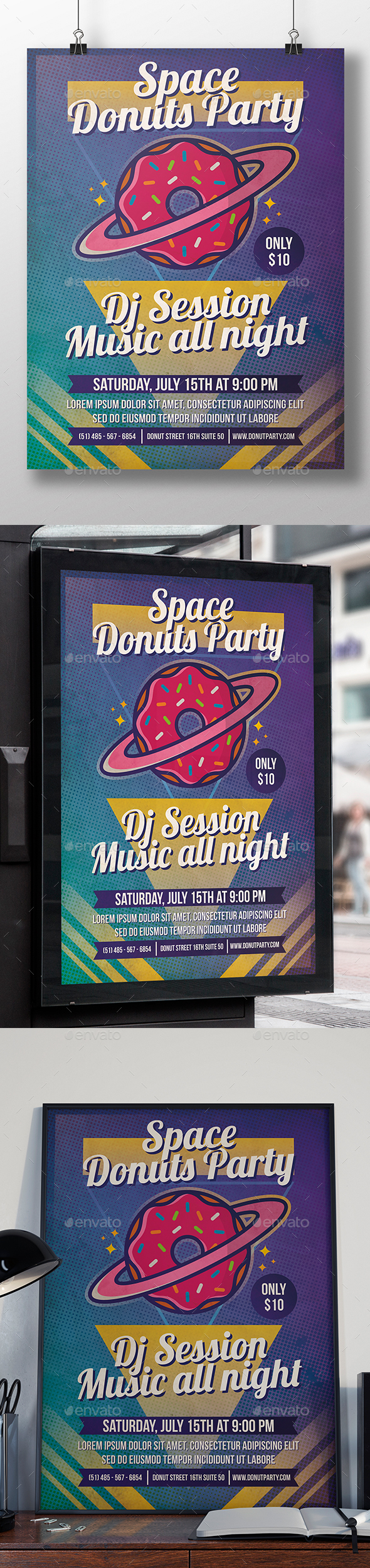 Planet Donuts Flyer Template - Clubs & Parties Events