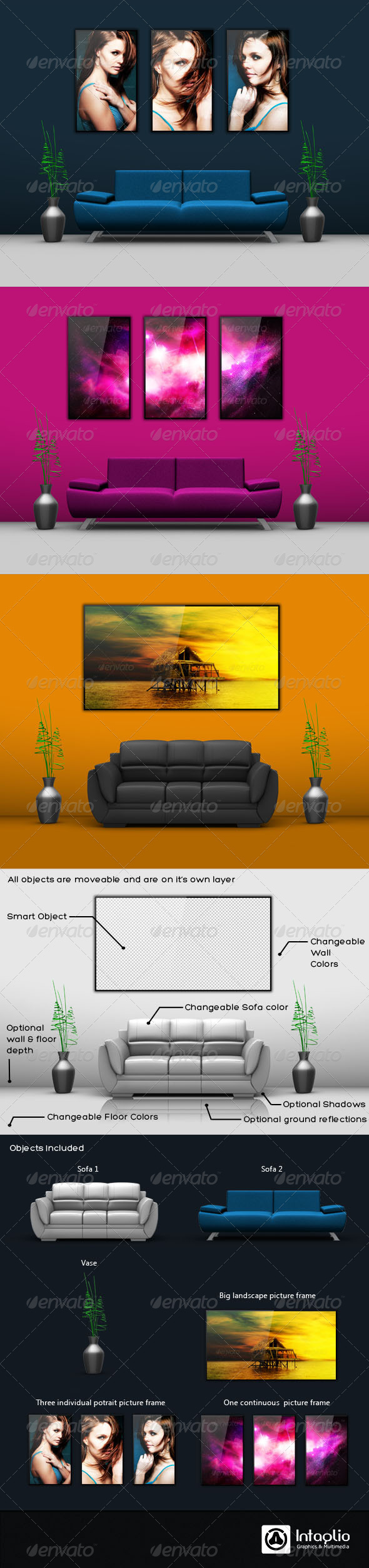 Wall Picture Mockup - Miscellaneous Product Mock-Ups