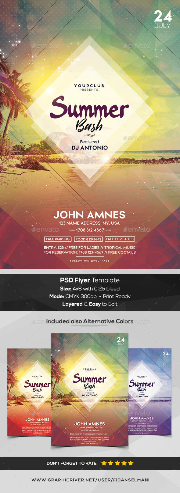 Summer Bash - PSD Flyer Template - Events Flyers