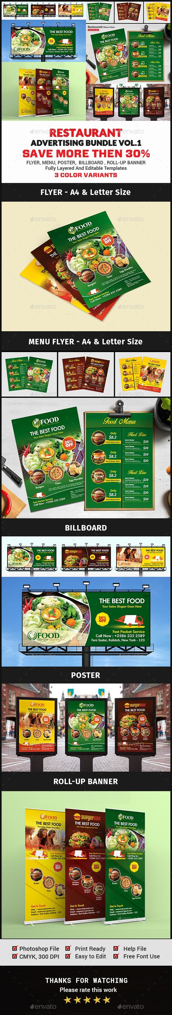 Restaurant Advertising Bundle Vol.1 - Signage Print Templates