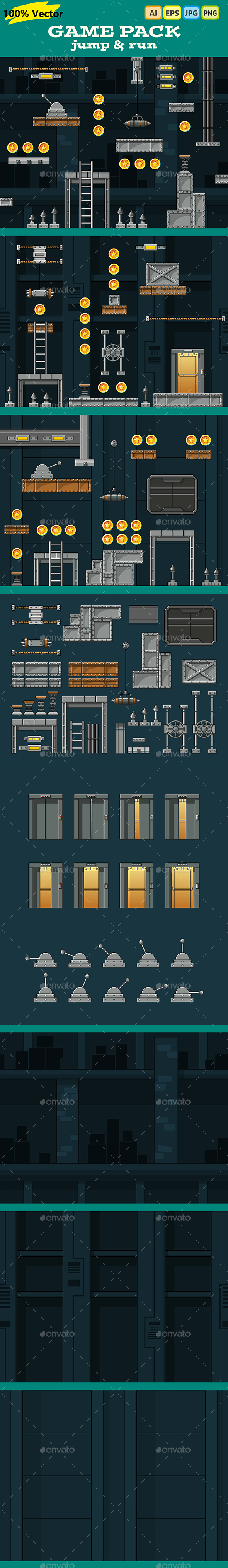 Game Pack: Jump and Run - Tilesets Game Assets