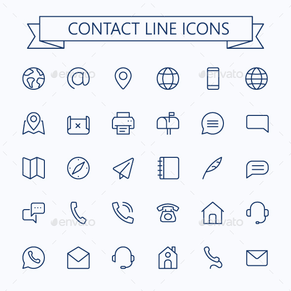 Contact Line Mini Icons. Editable Stroke. 24x24 - Icons