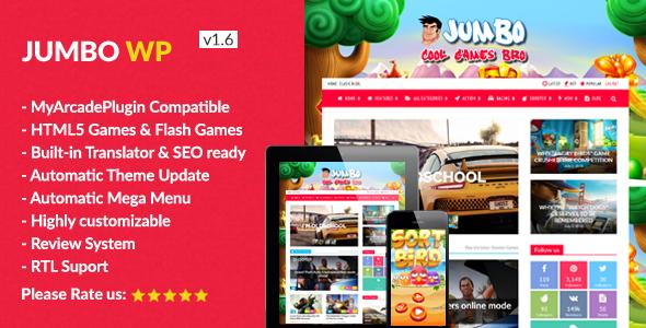 Jumbo - WordPress Magazine & Arcade Theme for HTML5 Games - Entertainment WordPress