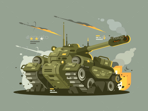Military Tank in Fire - Man-made Objects Objects