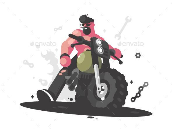 Biker on Motorcycle - Miscellaneous Vectors