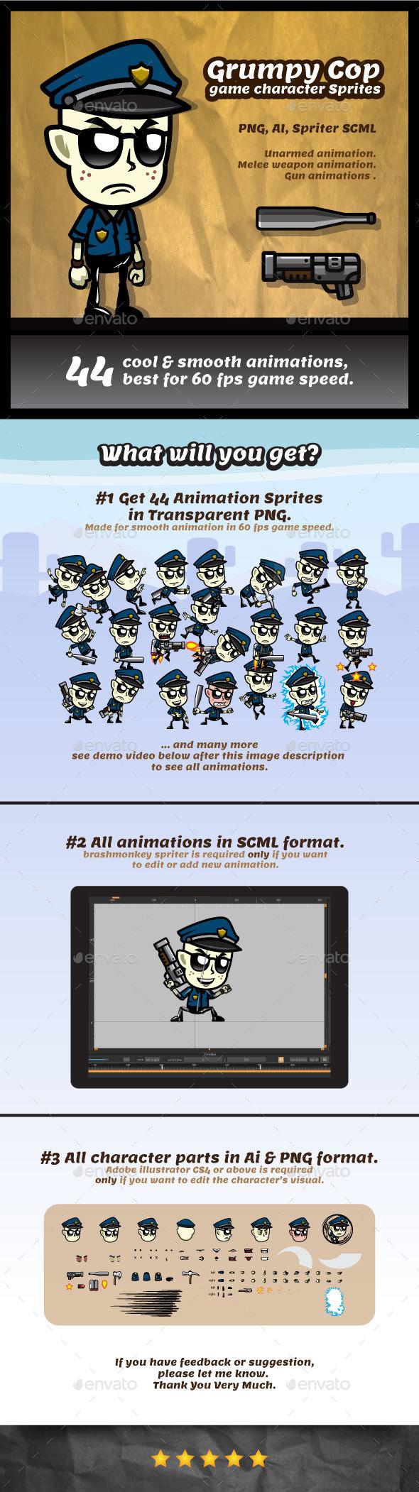 GraphicRiver Grumpy Cop Game Character Sprites 20258928