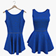 Blue Fitted Dress - 3DOcean Item for Sale