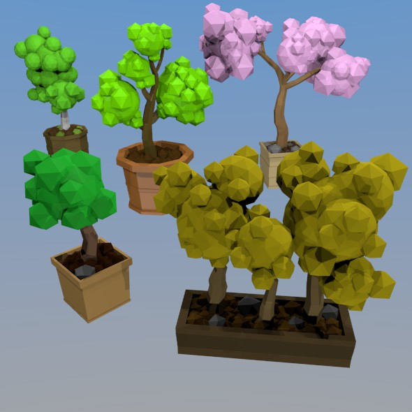 Trees in pots - 3DOcean Item for Sale