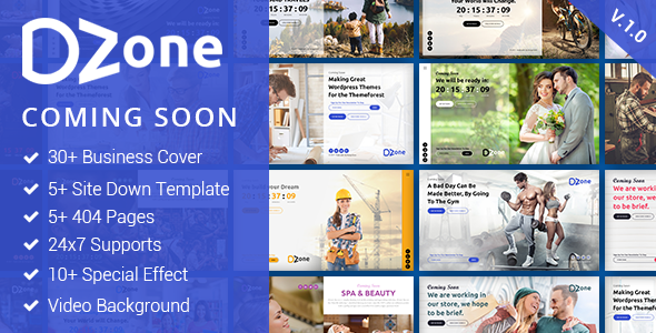 Dzone: Multipurpose Coming Soon Mobile Responsive Template For Multiple Business