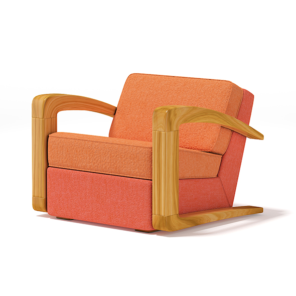 Orange Fabric Armchair - 3DOcean Item for Sale