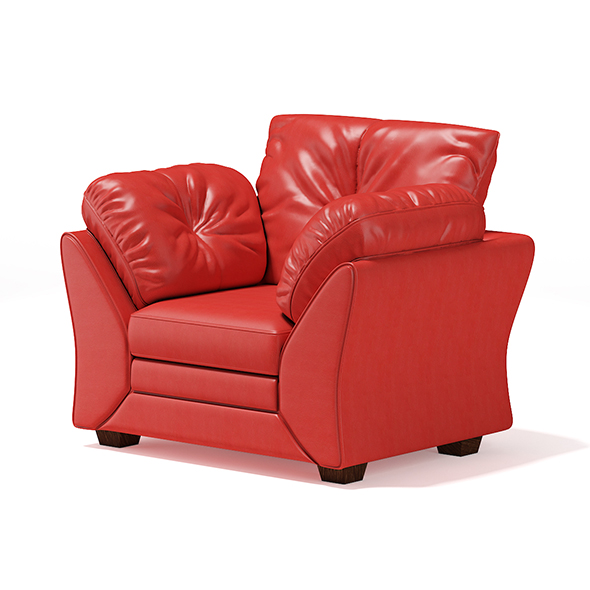 Red Leather Armchair - 3DOcean Item for Sale