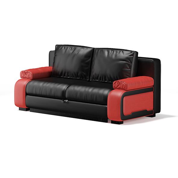 Black and Red Leather Sofa - 3DOcean Item for Sale