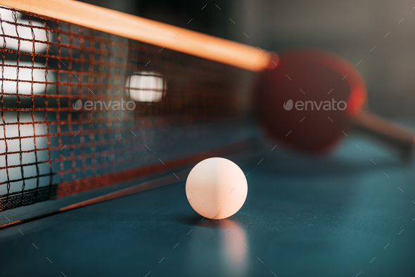 Ping pong ball on the table, selective focus - Stock Photo - Images