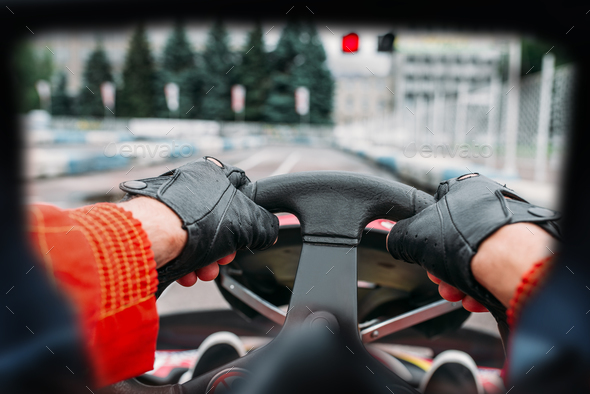 Karting driver, view through the eyes of the racer - Stock Photo - Images