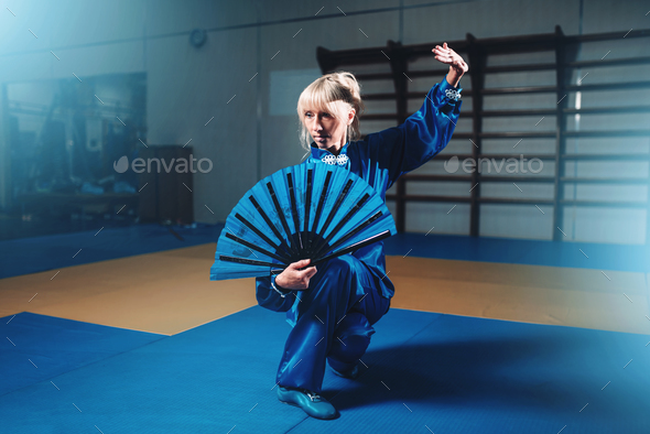 Female wushu master with fan, martial arts - Stock Photo - Images