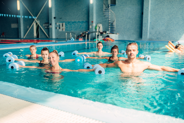 Aqua aerobics, healthy lifestyle, water sport - Stock Photo - Images