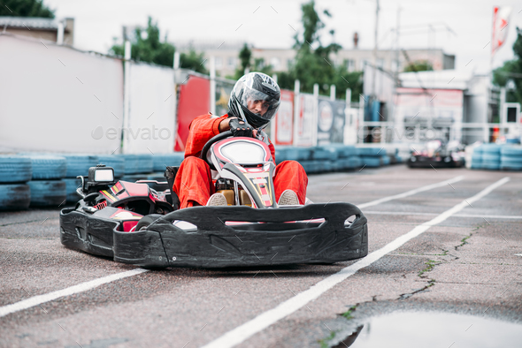 Karting racer in action, go kart competition - Stock Photo - Images