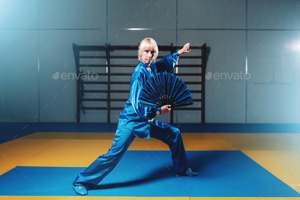 Female wushu master exercise with fan, martial art - Stock Photo - Images