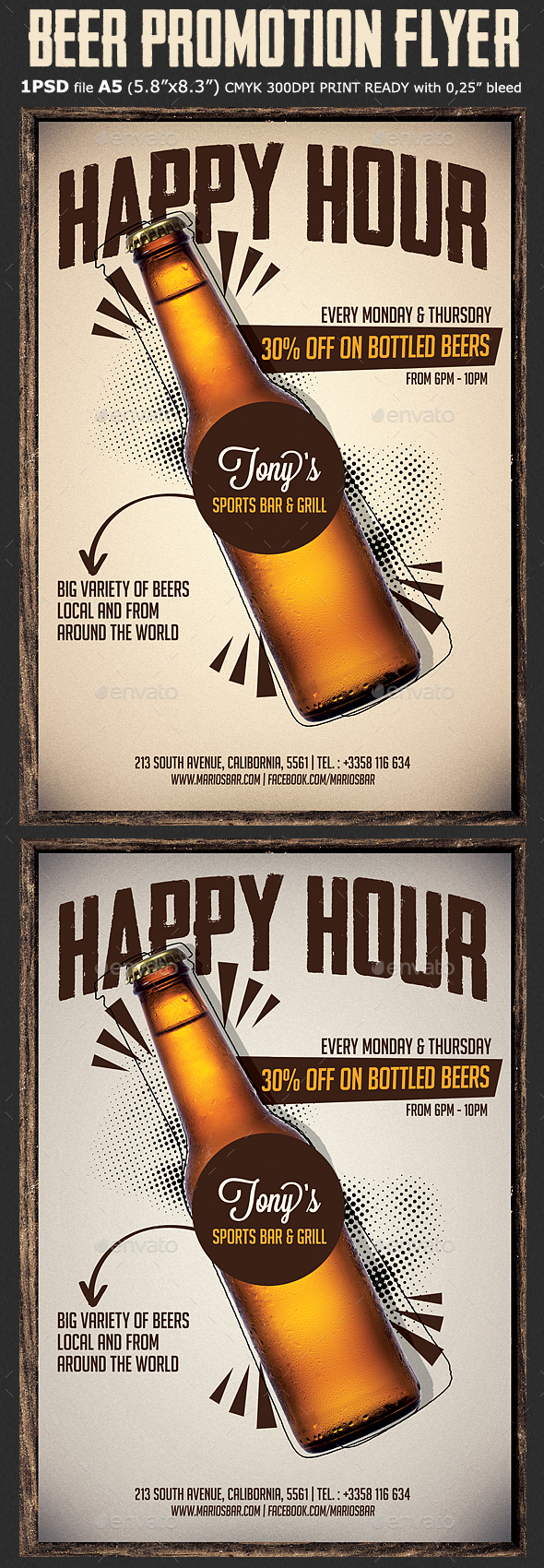 Beer Promotion Happy Hour Flyer - Restaurant Flyers