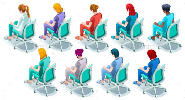 Female Black Nurse Group Vector Isometric Clinical Image Set - Vectors