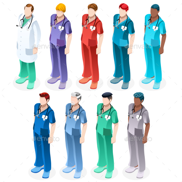 Nurse Healthcare Vector Medic People Isometric Man Set - Vectors