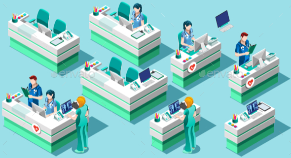 Nurse Station Vector Isometric People Medical Bundle - Vectors