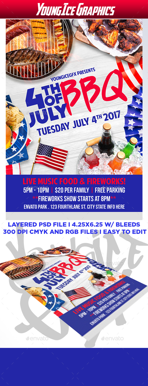 4th of july bbq flyer template by youngicegfx graphicriver for 4th of july menu template