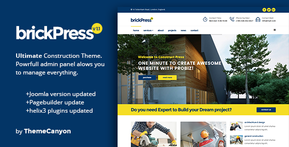 BrickPress - Construction & Business Joomla Template