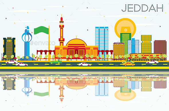 Jeddah Skyline with Color Buildings, Blue Sky and Reflections. - Buildings Objects