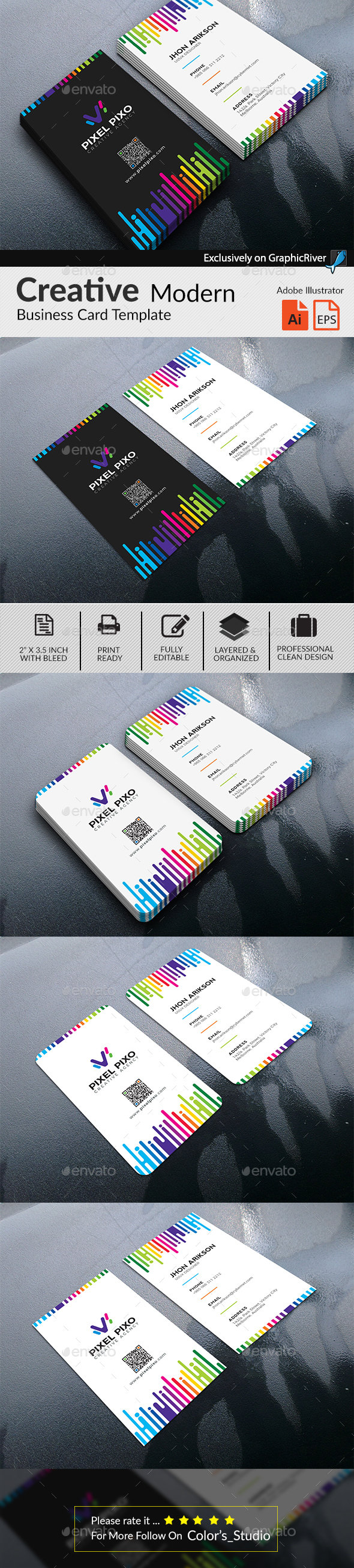 Multipurpose Colorful Creative Business Card - Business Cards Print Templates