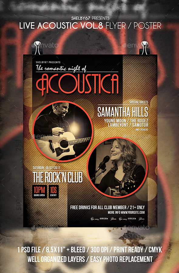 Live Acoustic Flyer / Poster Vol 8 - Events Flyers