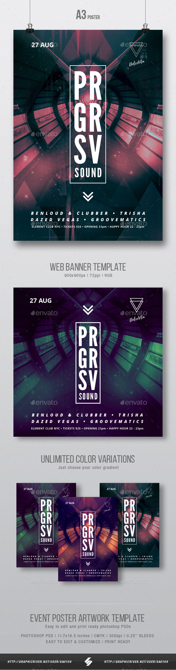 Progressive Sound - Party Flyer / Poster Template A3 - Clubs & Parties Events