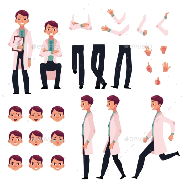 GraphicRiver Doctor Character Creation Set with Different Poses 20262364