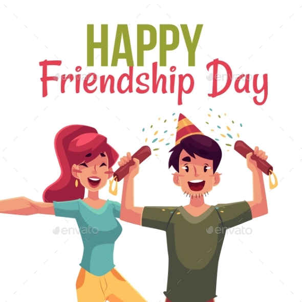 Happy Friendship Day Greeting Card - People Characters