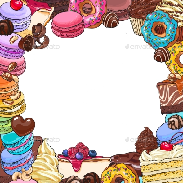 Square Frame of Desserts and Pastries, Round Place - Food Objects