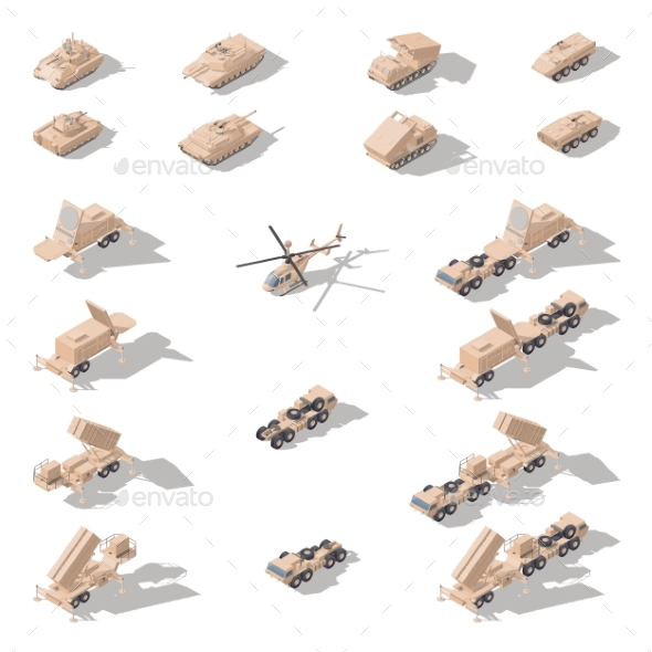 Modern Military Equipment in Desert Camouflage - Miscellaneous Vectors