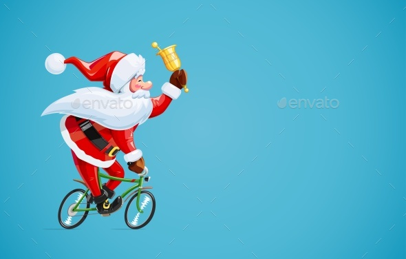 Santa Claus with Bell at Bicycle. Christmas Cartoon Character. - Vectors