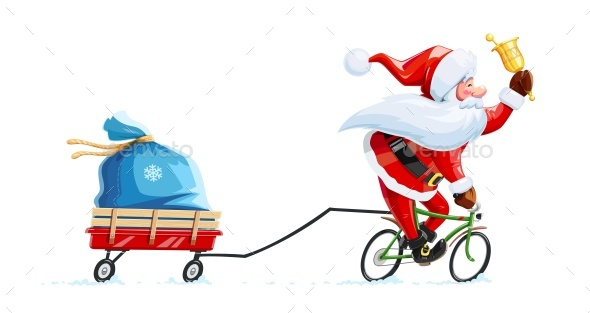 GraphicRiver Santa Claus with Bell and Bicycle 20262566