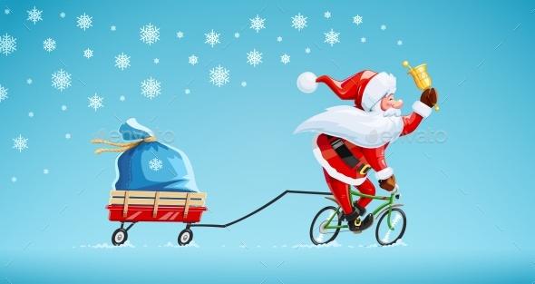 Santa Claus with Bell and Bicycle Christmas Cartoon - Christmas Seasons/Holidays
