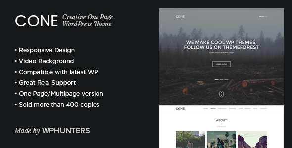 Cone - Responsive Onepage WordPress Theme - Creative WordPress